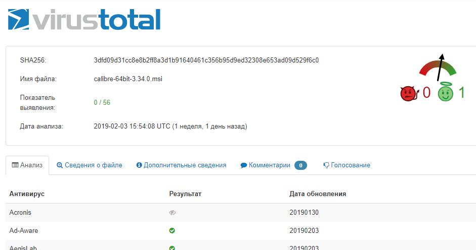 проверка файла на virustotal